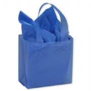 Blue Frosted Plastic Shopping Bags