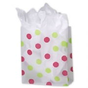 Pink and Green Dots Clear-Frosted Shopping Bags