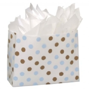Brown and Blue Dots Plastic Frosted Bags