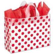 Red Dots Clear Frosted Shopping Bags