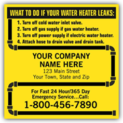 Water Heater Service Labels