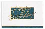 Custom Printed Birthday Cards - Teal/White