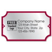 Silver foil labels with red border