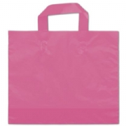 Hot Pink Frosted Plastic Shopping Bags