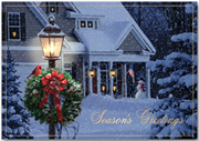 Evening Home Wreath Holiday Card