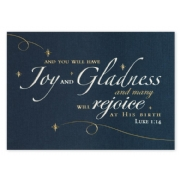 Customized Christmas Cards with Gold Foil on Blue Stock