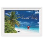 Santa in paradise greeting cards