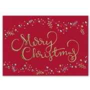 Red holiday cards with Merry Christmas