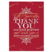 Red Holiday Greeting Cards with Thank You