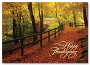 H59845, Personalized Thanksgiving Cards - Leaf Strewn Lane