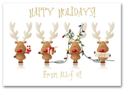 Animal Holiday Card - Cheery Reindeers